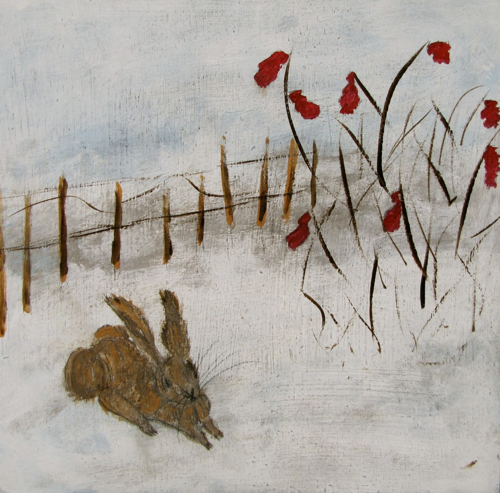 Winter Rabbit Day 23 - 30 Day Challenge acrylics 10x10 birch panel