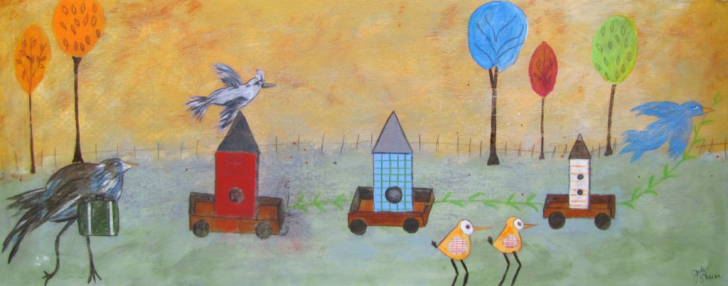 Moving Day acrylics, charcoal, Derwent Pencils 12x30 birch panel