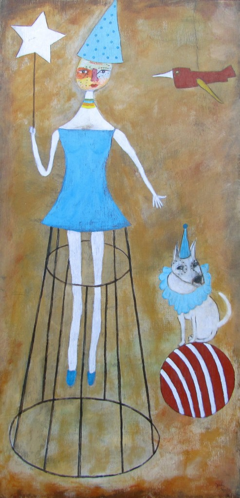 The Amazing Lady Olga and Her Magical Dog Spot acrylics 36x18 birch panel