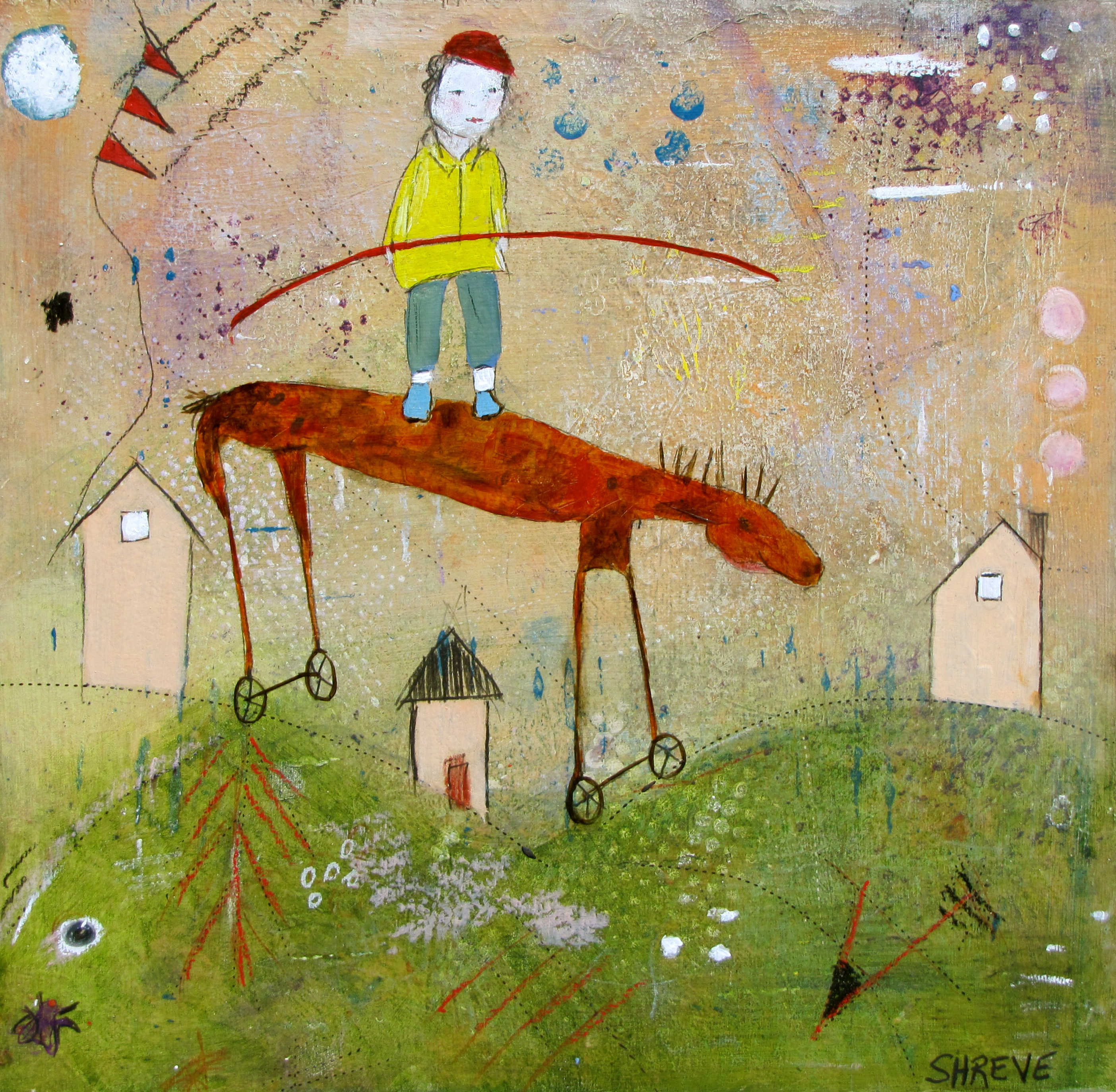 Finding Balance Above It All (12x12):Judy Shreve