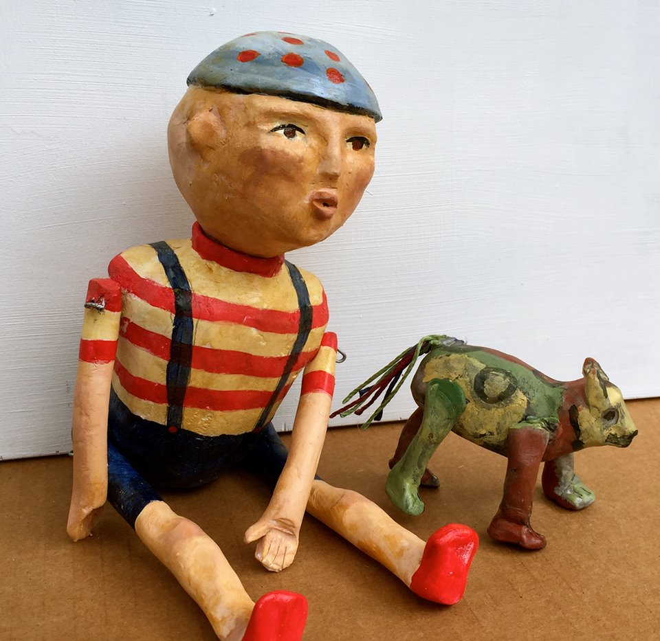 Spike and his Little Dog, Spot Sculpey Clay, acrylics