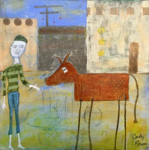 Take Your Pony To Town acrylics and oil pastels 10x10 birch panel