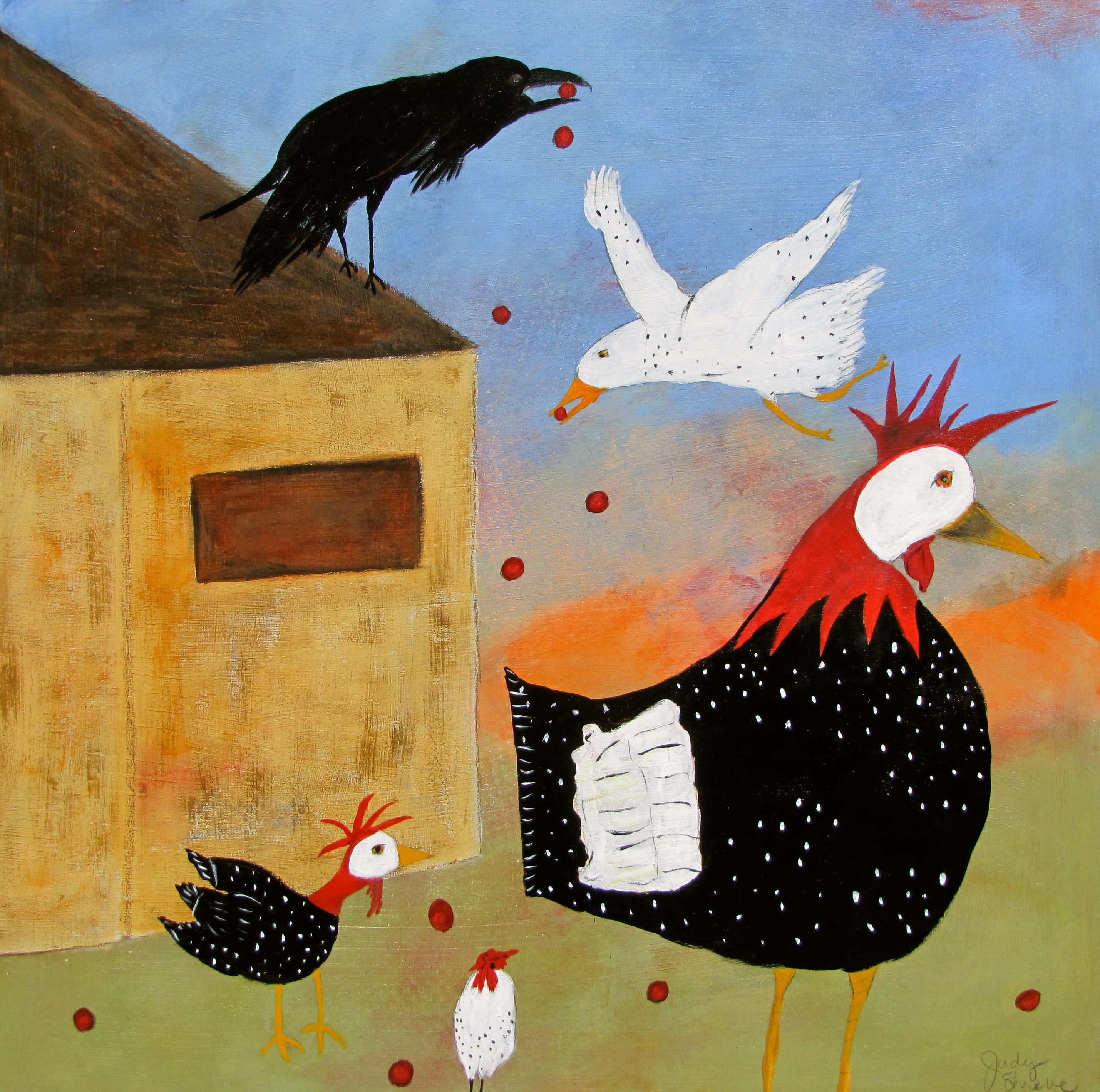 The Raven's Red Berries (22.5x22.5):Judy Shreve